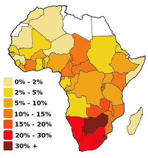 Africa percentage of adult population with HIV-AIDS