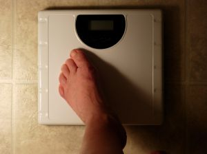 Bare foot on scale