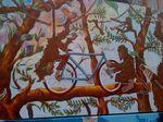 Street art monkeys repairing bicycle