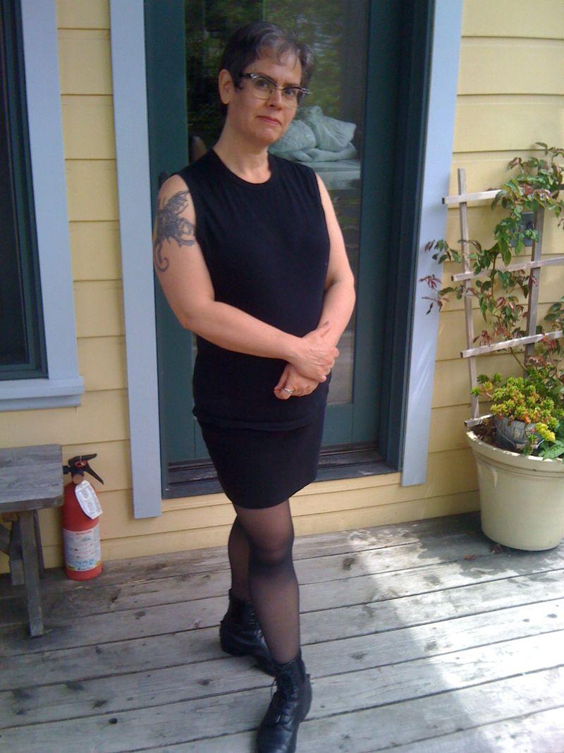 Greta on porch