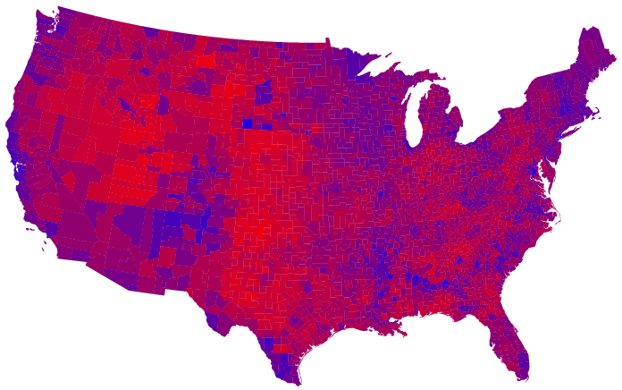 Red regions blue regions