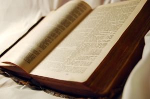 Bible on cloth soft light